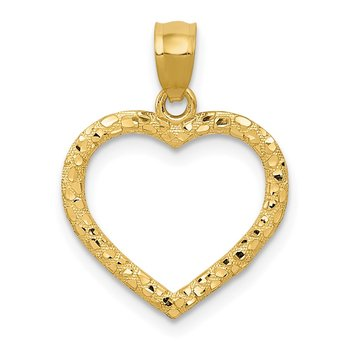 14K Polished and Textured Open Heart Pendant