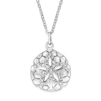 Diamond Sand Dollar Necklace in 14K White Gold with 16 Diamonds Weighing .10ct tw