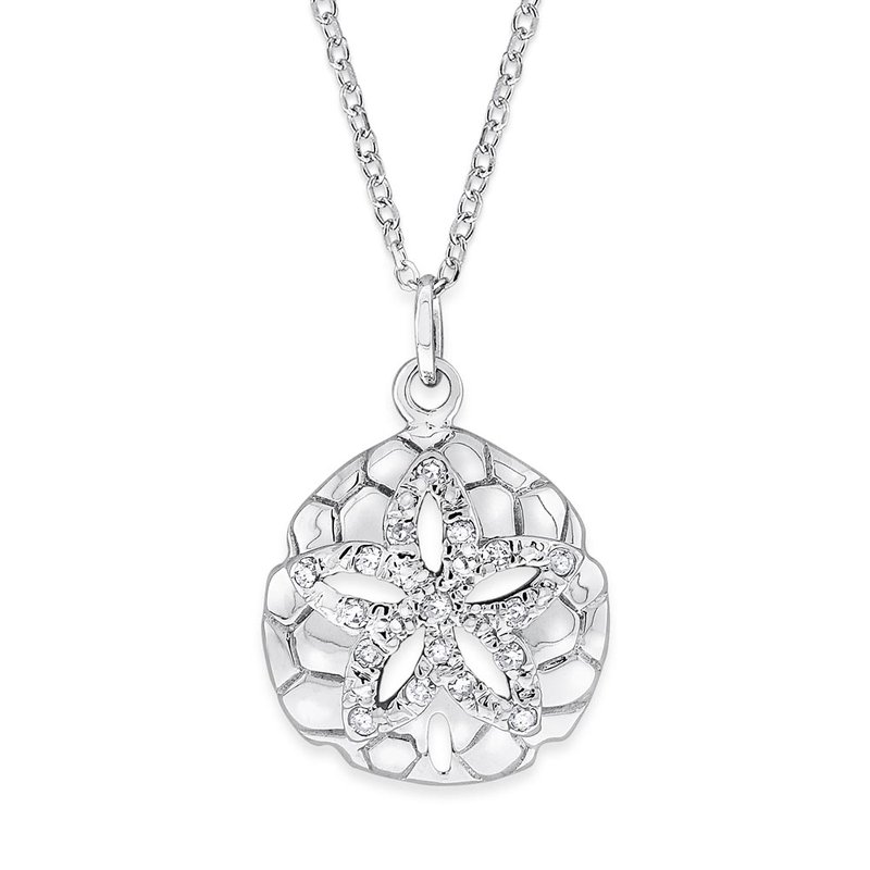 KC Designs Diamond Sand Dollar Necklace in 14K White Gold with 16 Diamonds Weighing .10ct tw