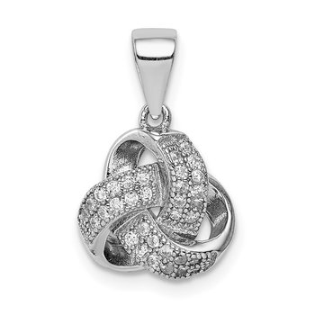 Sterling Silver Rhodium-plated Polished CZ Love Knot Pendant