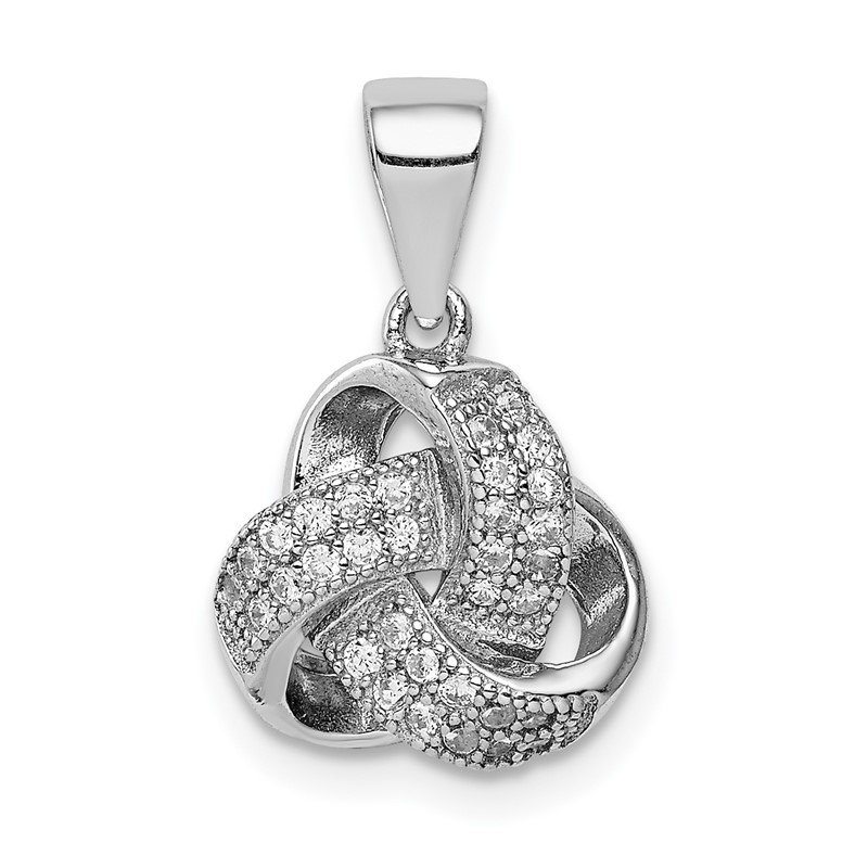 Quality Gold Sterling Silver Rhodium-plated Polished CZ Love Knot Pendant