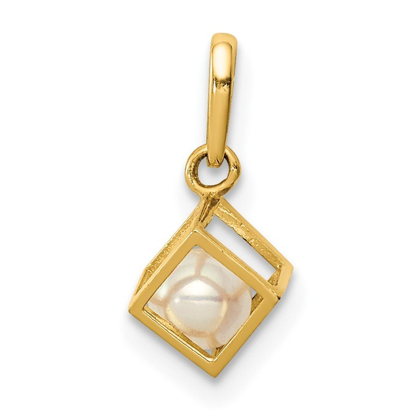 Quality Gold 14K 3D Square w/FW Cultured Pearl Pendant