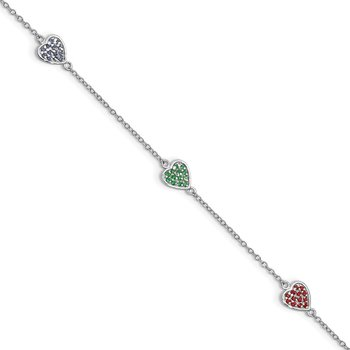 Sterling Silver 6in Plus 1in ext Red/Green/Blue Glass Heart Bracelet