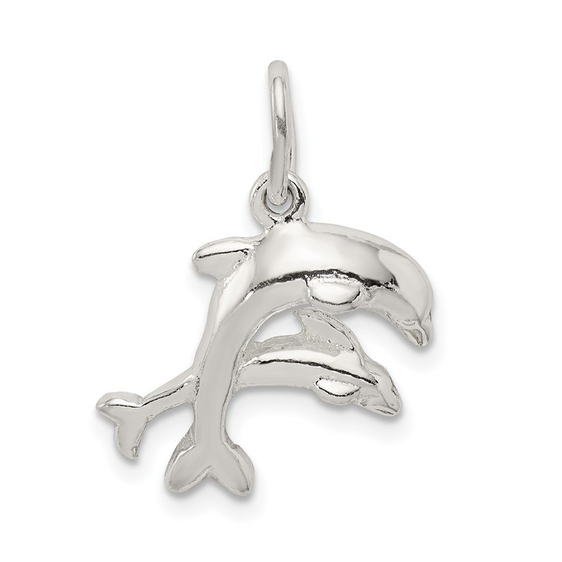 Quality Gold Sterling Silver Dolphins Charm