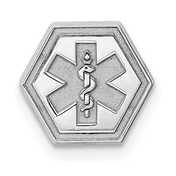 Sterling Silver Rhod-plt Non-enameled Attachable Emblem Medical Charm