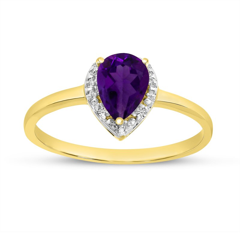 Color Merchants 10k Yellow Gold Pear Amethyst And Diamond Ring