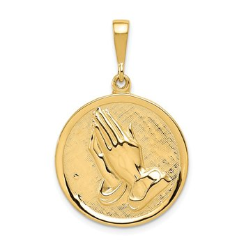 14K Praying Hands and Serenity Prayer Pendant