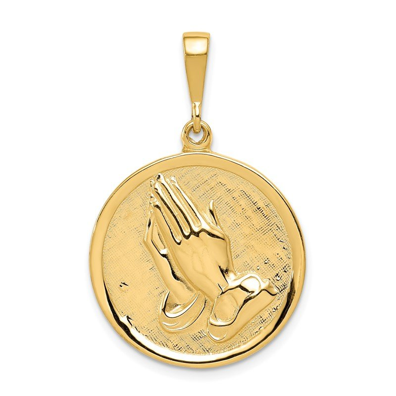 Quality Gold 14K Praying Hands and Serenity Prayer Pendant