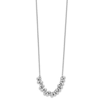 Sterling Silver Rhodium-plated Dangling Beads Necklace