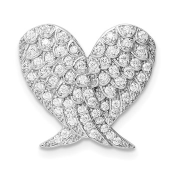 Sterling Silver Rhodium-plated Polished CZ Heart Wing Chain Slide