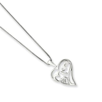 Sterling Silver Rhodium-plated Diamond Mom Necklace