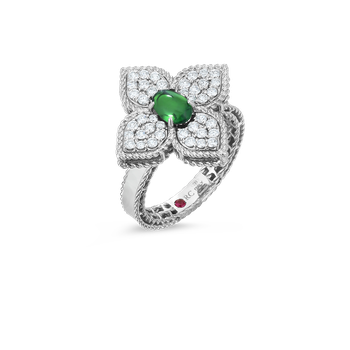 18K DIAMOND & TSAVORITE FLOWER RING