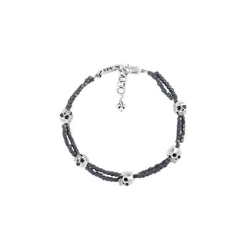 Grey Square Hematite Double Strand Bracelet With Skulls
