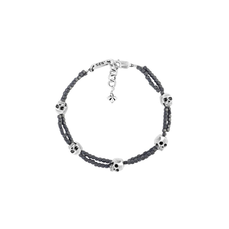 King Baby Grey Square Hematite Double Strand Bracelet With Skulls