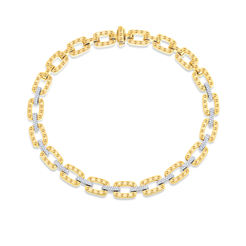 Roberto Coin Link Necklace With Diamonds
