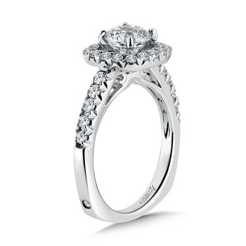Modernistic Collection Diamond Halo Engagement Ring in 14K White Gold with Platinum Head (1ct. tw.)