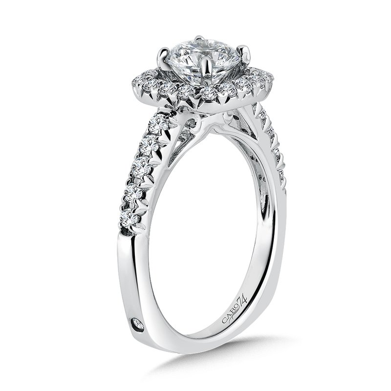 Caro74 Modernistic Collection Diamond Halo Engagement Ring in 14K White Gold with Platinum Head (1ct. tw.)