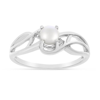 10k White Gold Freshwater Cultured Pearl And Diamond Curve Ring