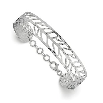 Leslie's SS Rhodium-plated Fancy Bangle