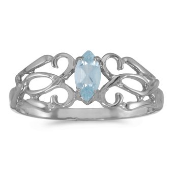 14k White Gold Marquise Aquamarine Filagree Ring
