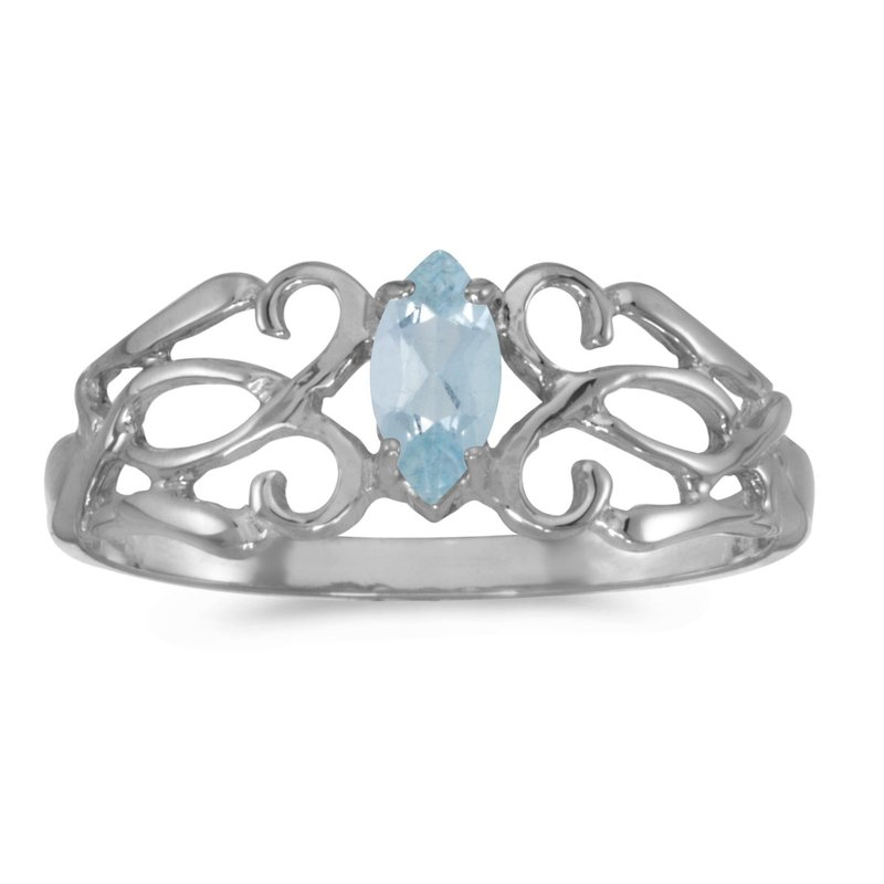 Color Merchants 14k White Gold Marquise Aquamarine Filagree Ring