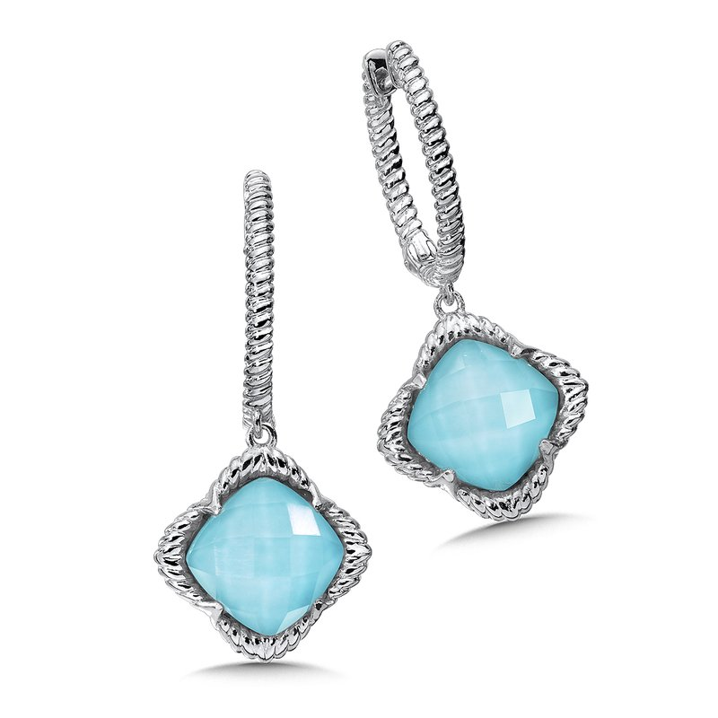 Colore Sg Sterling Silver White Quartz & Turquoise Fusion Dangle Hoop Earrings