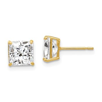 14k 6mm Square CZ Post Earrings
