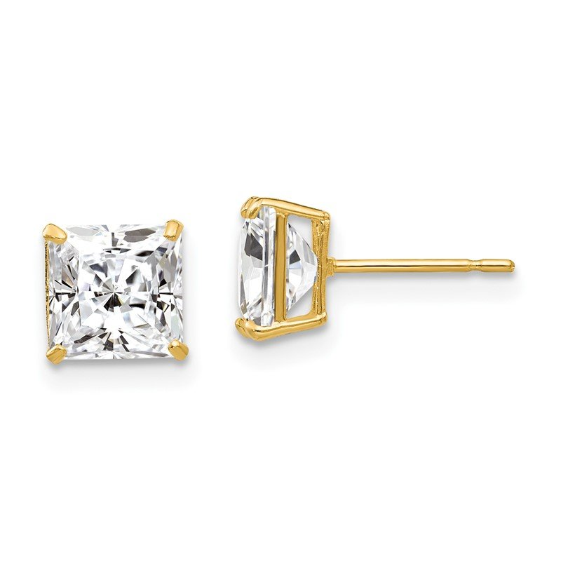 Quality Gold 14k 6mm Square CZ Post Earrings