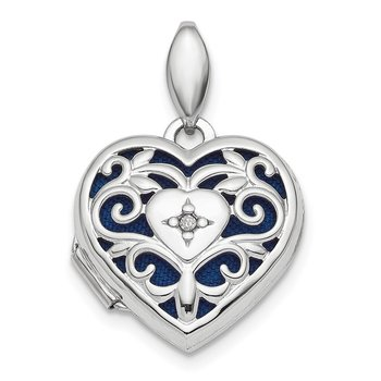 Sterling Silver Rhodium-plated Polished Filigree Diamond Heart Locket