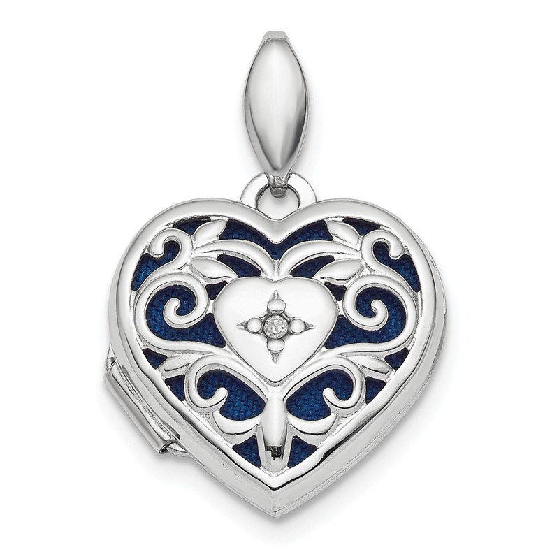 Quality Gold Sterling Silver Rhodium-plated Polished Filigree Diamond Heart Locket