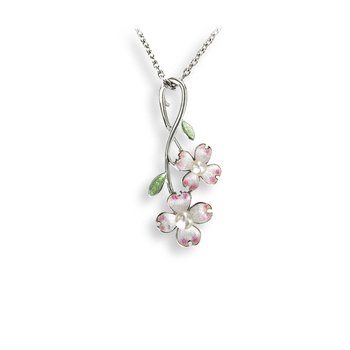 White Dogwood Necklace.Sterling Silver-Akoya Pearl