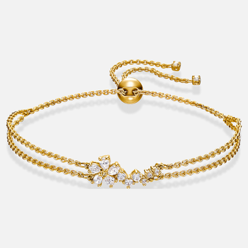 Botanical Bracelet, White, Gold-tone plated
