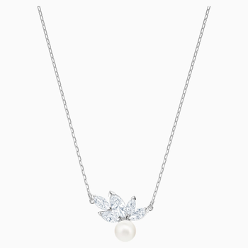 Louison Pearl Pendant, White, Rhodium plated