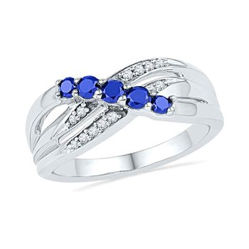10kt White Gold Womens Round Lab-Created Blue Sapphire Band Ring 1/2 Cttw