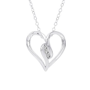 Sterling Silver Diamond Accent 3-stone Heart Necklace