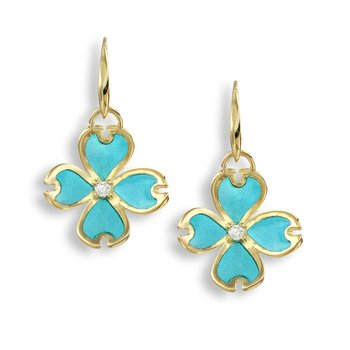 Turquoise Dogwood Wire Earrings.18K -Diamonds - Plique-a-Jour