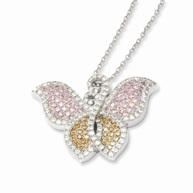 Quality Gold Sterling Silver & CZ Brilliant Embers Butterfly Necklace