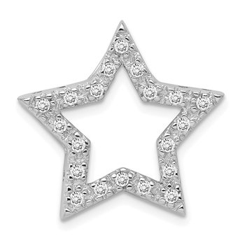 Sterling Silver Rhodium-plated CZ Star Pendant