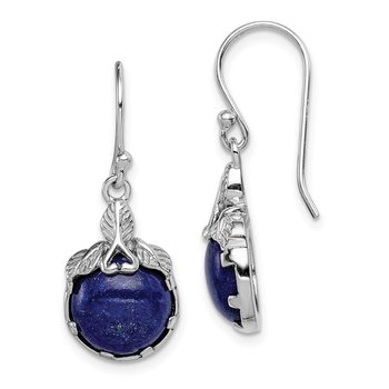 Sterling Silver Rhodium-plated Lapis Lazuli w/ Leaf Accent Dangle Earrings
