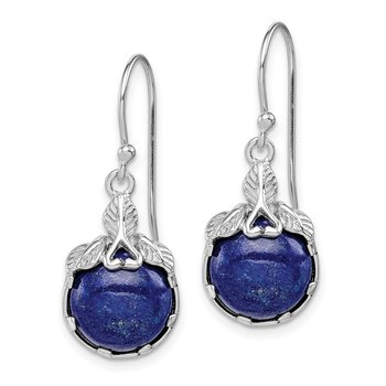 Sterling Silver Rhodium-plated w/Lapis Lazuli Shepherd Hook Earrings