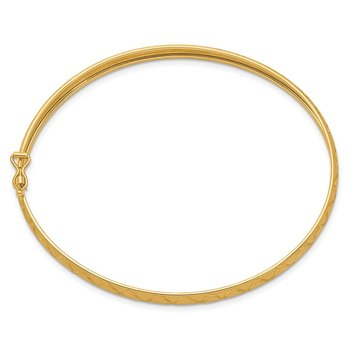 14K Satin D/C X-Pattern Oval Flexible Bangle