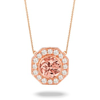 Rose Morganite & Diamond Halo Necklace 18KR