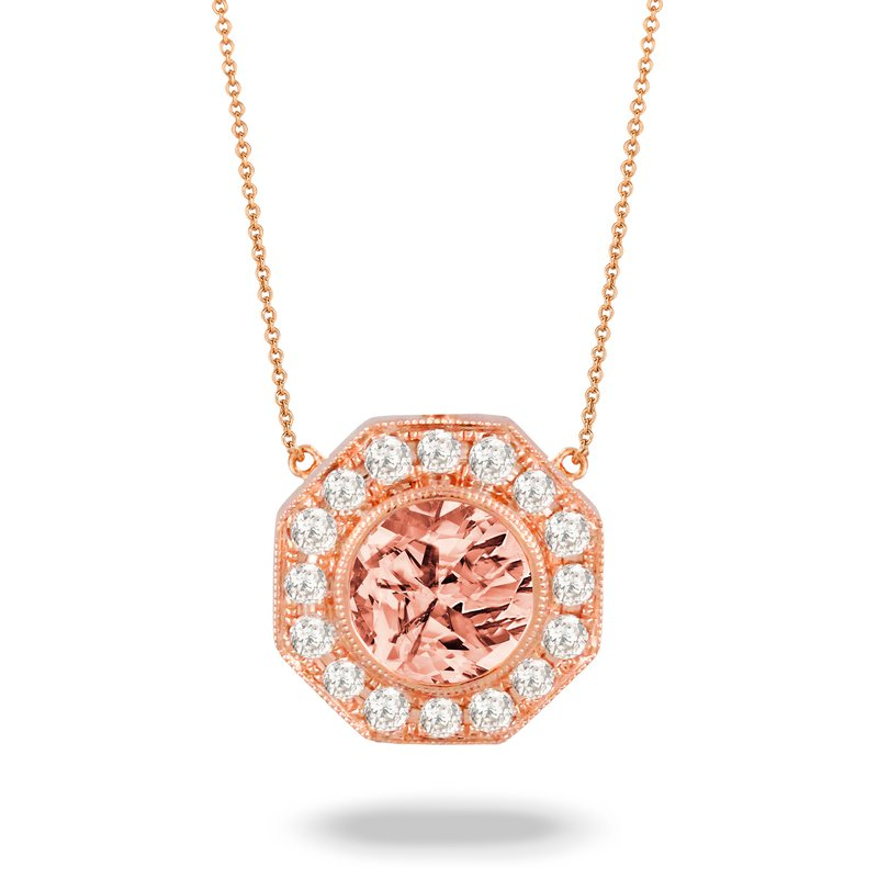 Doves Rose Morganite & Diamond Halo Necklace 18KR