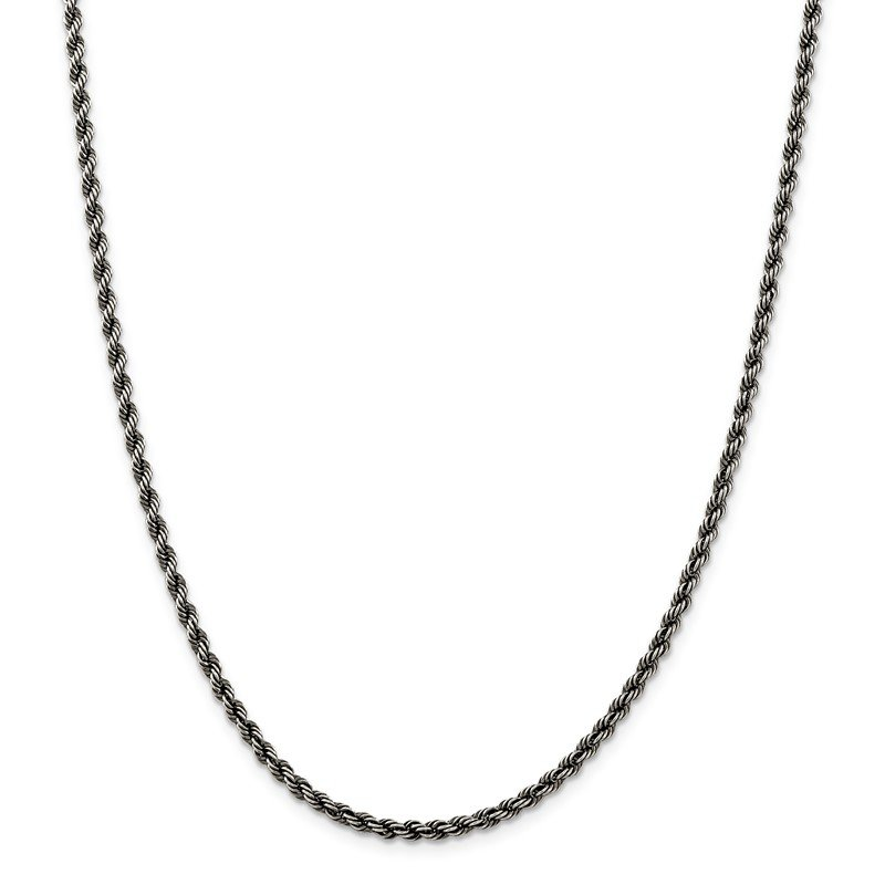 Quality Gold Sterling Silver Ruthenium-plated 3mm Rope Chain