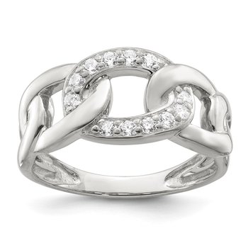 Sterling Silver CZ Link Ring