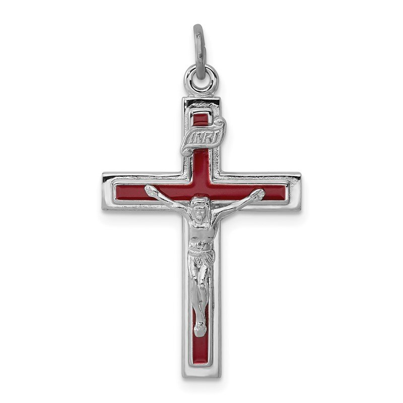 Quality Gold Sterling Silver Rhodium-plated Enameled Crucifix Pendant