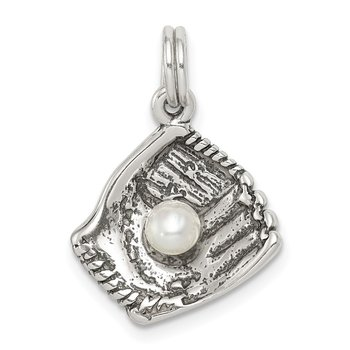 Sterling Silver Baseball Glove w/Simulated Pearl Charm