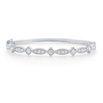 Diamond Antique Style Bangle Set in 14 Kt. Gold