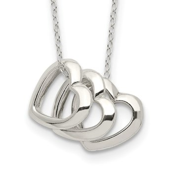 Sterling Silver Polished Fancy 3- Heart Necklace