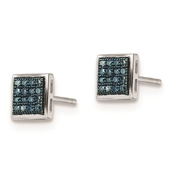 Sterling Silver Rhod Plated Blue Diamond Post Earrings